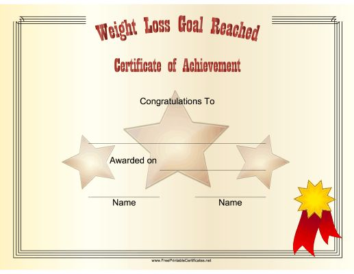 certificate congratulates someone on reaching their weight loss ...