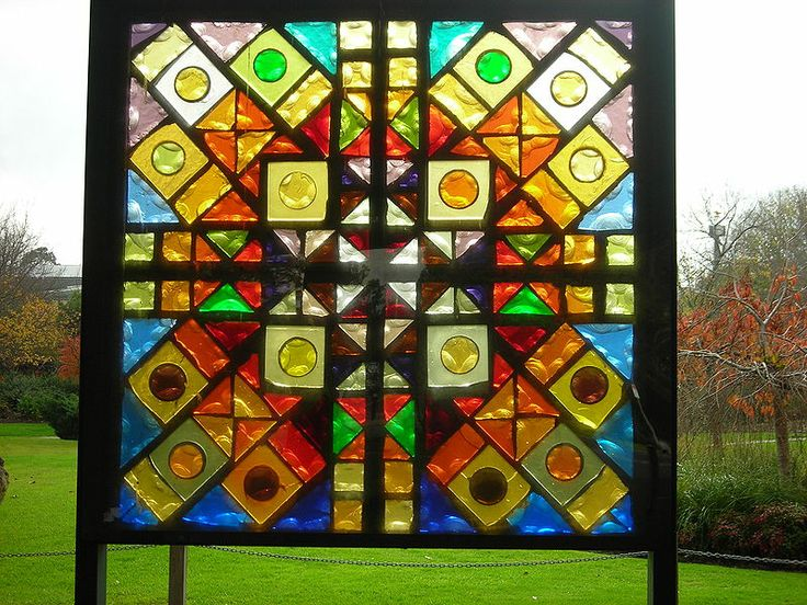 Stained glass panel ''The Four Seasons'' (1978) by Leonard French at La Trobe University Sculpture Park in Melbourne, Australia: Seasons 1978, Melbourne Australia, La Trobe, University Sculpture, Four Seasons, Stained Glass, Leonard French