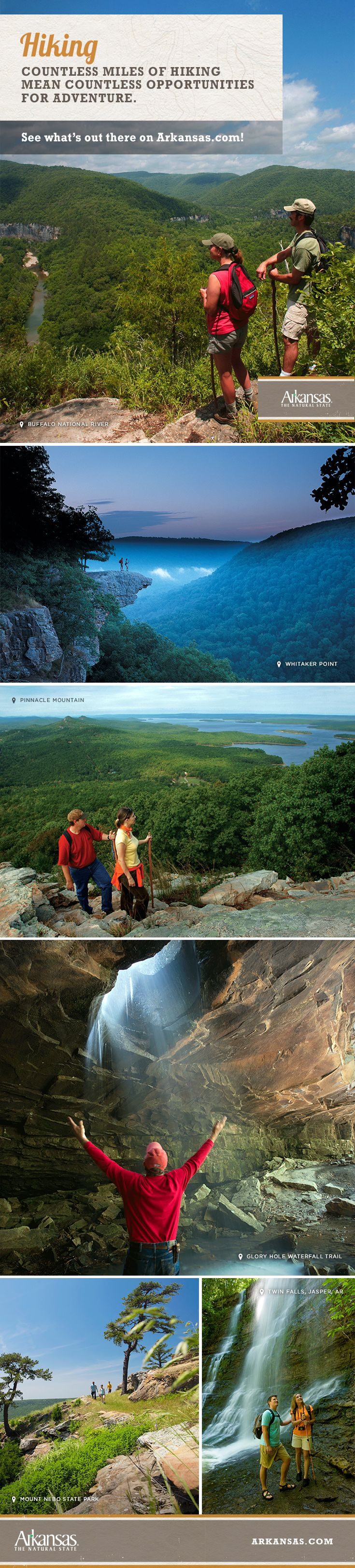Countless miles of hiking mean countless opportunities for adventure. See what's out there on Arkansas.com!