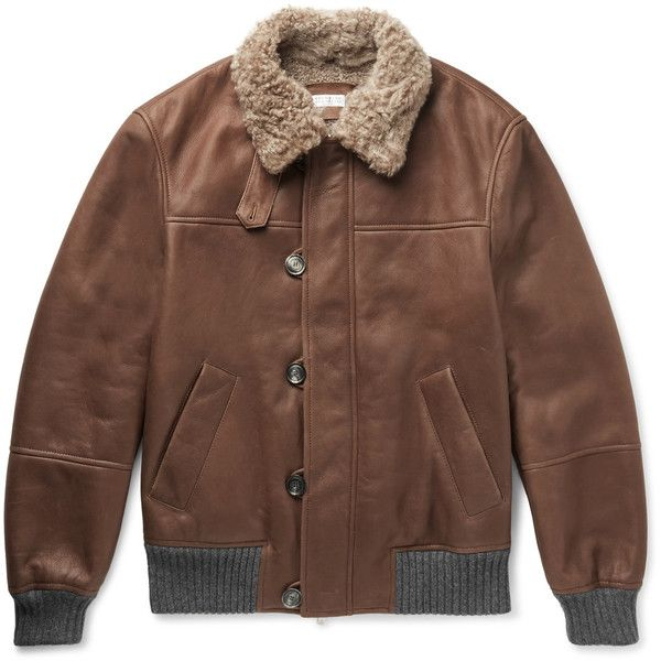 Brunello Cucinelli Cashmere-Trimmed Shearling Bomber Jacket ($6,595) ❤ liked on Polyvore featuring men's fashion, men's clothing, men's outerwear, men's jackets, mens shearling jacket and mens shearling bomber jacket