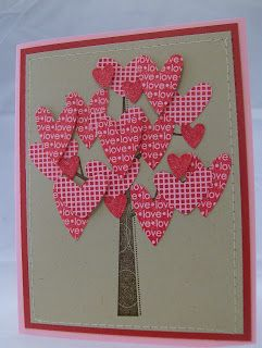 Stampin' Up! ... handmade valentine ... Does Love Really Grow On Trees?? ... tree full of large hearts in red patterned papers ... machine sewn border ...