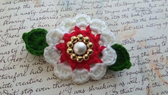 Handmade Crochet Flower Hair Clip.  White and Red Crochet