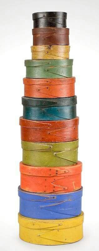This collection took 40 years to amass per Don Olson Fine Antiques. Incorrectly called shaker boxes, these are alternating finger joint boxes in original period paint.