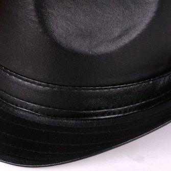 Mens Women Vintage Leather Bowler Jazz Cap Black Casual Short Brim Gentleman Hats at Banggood