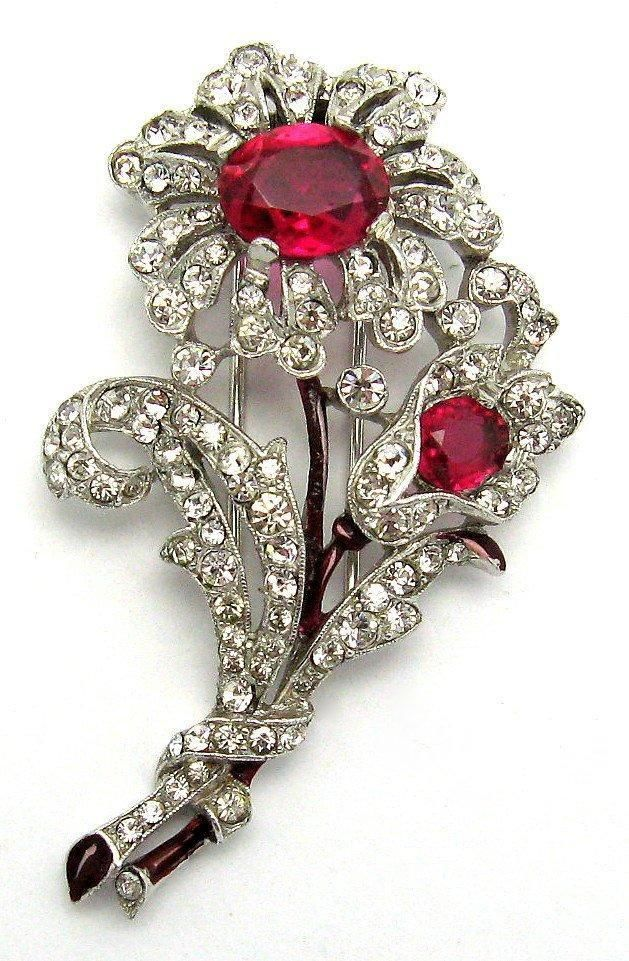 Trifari 'Alfred Philippe' Floral Brooch Pin Clip Faux Ruby Cabochons Beautiful! #CrownTrifari #BroochPinClip
