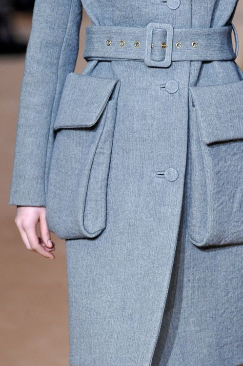 Marni | detail | fall 2012  Love the belted look ~ pockets not so much