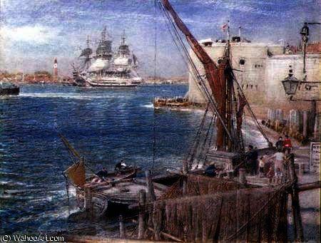 Le `Victoire» à Portsmouth de Albert Goodwin (1845-1932, United Kingdom)