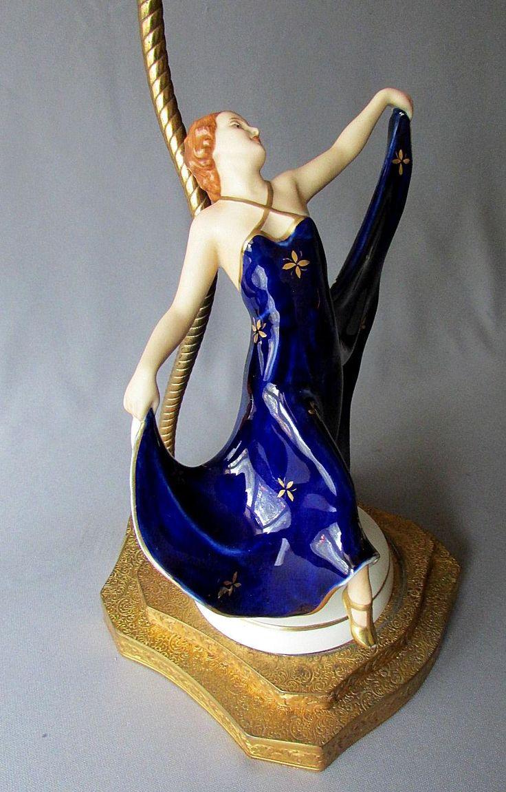 vintage art deco royal dux figural boudoir lamp dancing girl in cobalt blue dress 1930 39 s. Black Bedroom Furniture Sets. Home Design Ideas
