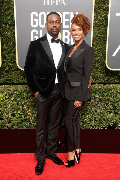 Actor Sterling K. Brown and Ryan Michelle Bathe attend The 75th Annual Golden Globe Awards at The Beverly Hilton Hotel on January 7, 2018 in Beverly Hills, California.