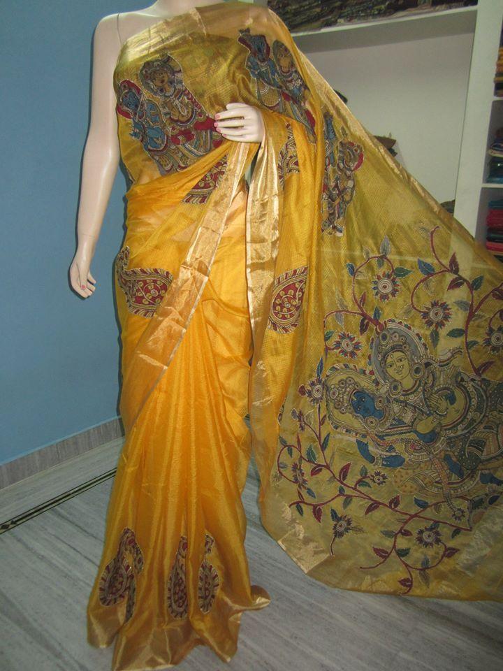 yellow kota silk with kalamkari patch work saree