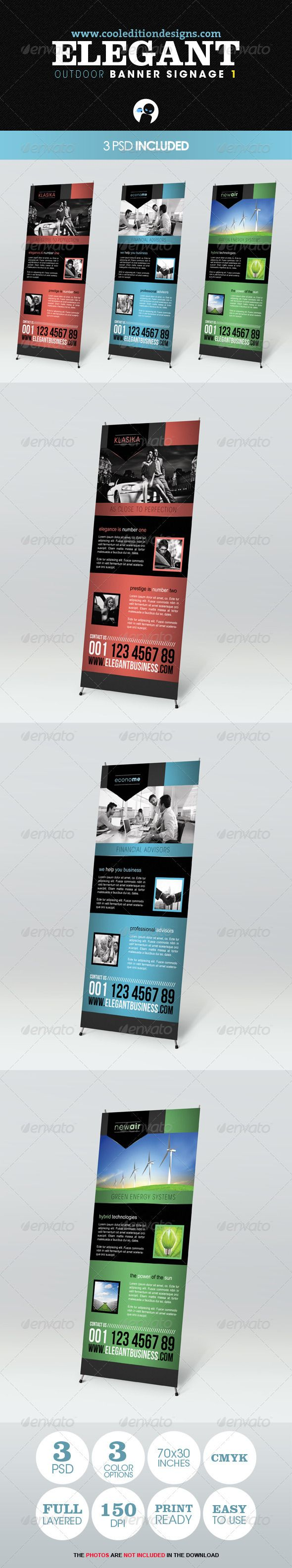 Elegant Outdoor Banner Signage 1 — Photoshop PSD #finances #cars • Available...