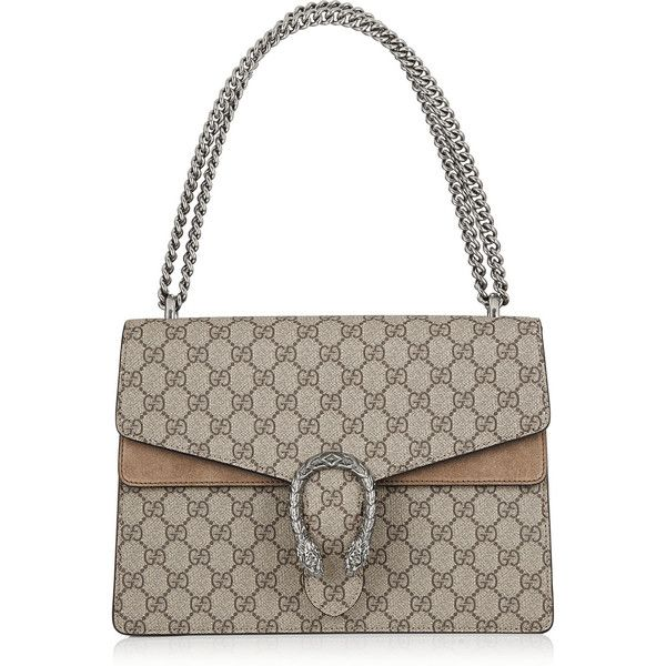 Gucci Dionysus coated canvas and suede shoulder bag ($2,250) ❤ liked on Polyvore featuring bags, handbags, shoulder bags, brown, chain strap purse, white handbags, white purse, gucci shoulder bag y brown handbags