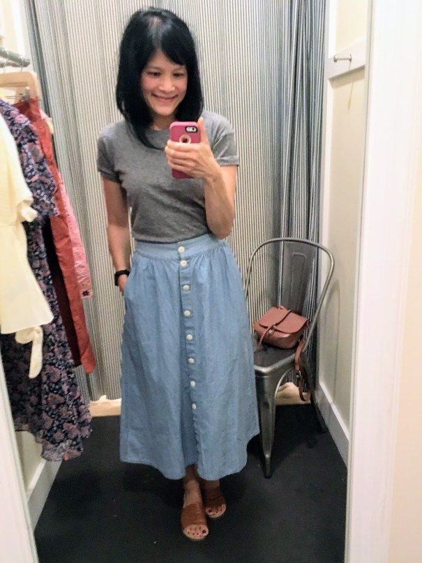 619161ed2f Madewell, Whisper Cotton Crewneck Tee, palisade button-front midi skirt