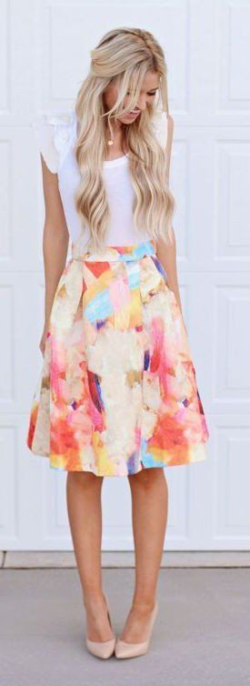 #spring #outfits  White T-shirt + Floral Print Skirt