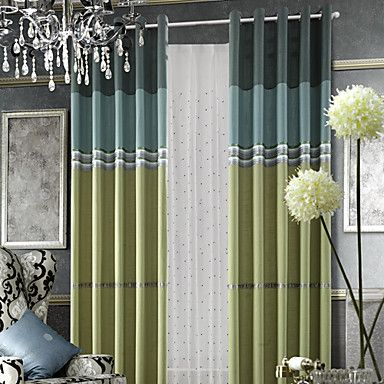 (One Panel) Classic Stripe Linen Lined Curtain  – USD $ 59.99