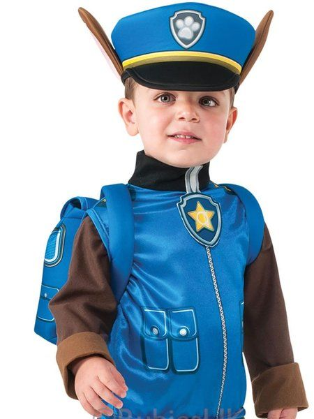 OFFICIALLY LICENSED PAW PATROL CHASE - TODDLER & CHILD COSTUME £20.00 PAW Patrol's police pup is on the prowl! This officially licensed, three piece chase costume from the nickelodeon TV show paw patrol features an adorable, brown and blue, all-in-one jumpsuit with printed pockets and zip detail to the chest with attached pup tag to collar, blue hat with attached paw patrol logo and puppy ears.
