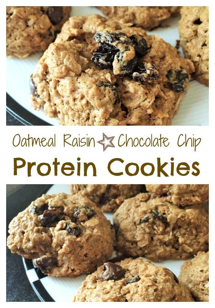 oatmeal raisin chocolate chip protein cookies