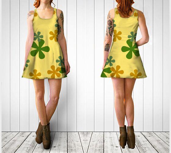 "Flare dress ""Orange and Green Retro Flowers Flare Dress"" by Cori-Beth's Originals at Art of Where."