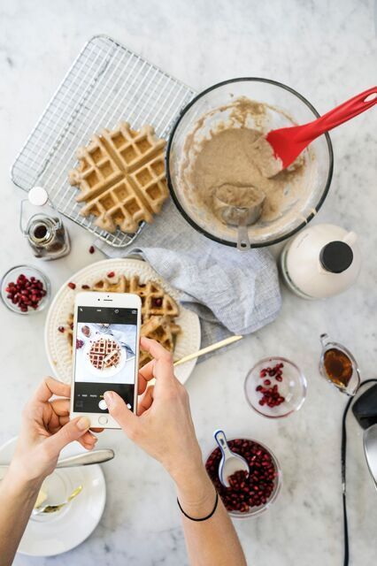 Here's Why Your Instagrams Never Look As Good As The Professionals #refinery29 http://www.refinery29.uk/food-photography-instagram-tips#slide-4 As we can see from behind-the-scenes of that yummy waffle shot, there's slightly more going on than we originally thought....