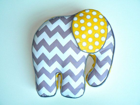 Elephant Pillow Chevron Gray and Yellow by CecilClyde on Etsy, $62.50