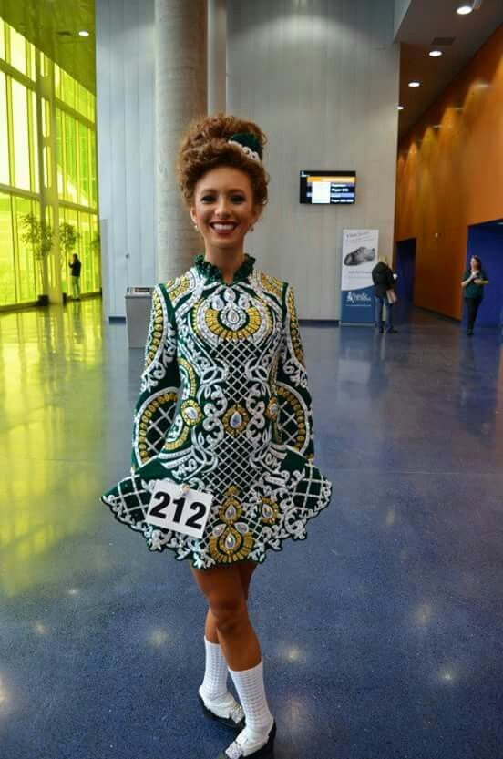 Montreal 2015: Incredible all-over embroidery! Irish dance dress fashions are entering the world of haute couture. Elevation Design.