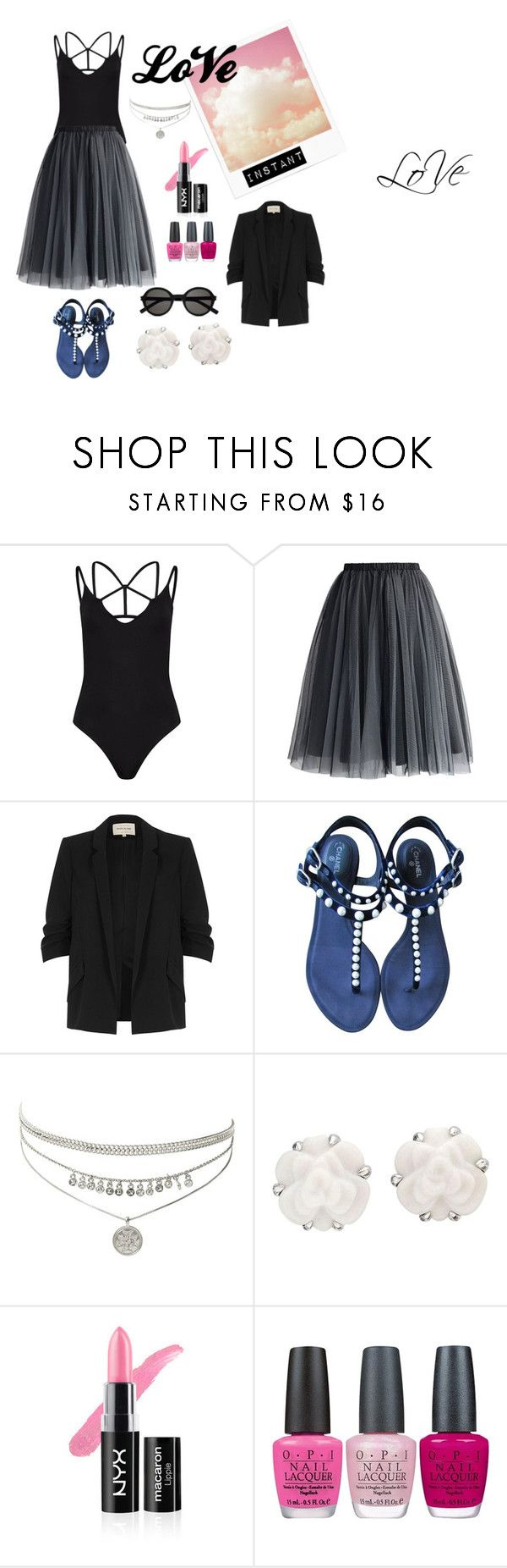 """Can't live without: Tulle Skirt Black body suit"" by neerose ❤ liked on Polyvore featuring Boohoo, Chicwish, River Island, Chanel, OPI and Yves Saint Laurent"