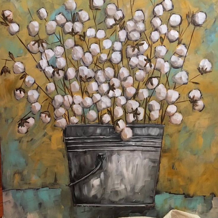 Bucket of cotton painting by Trish Jones of The Old Post Road