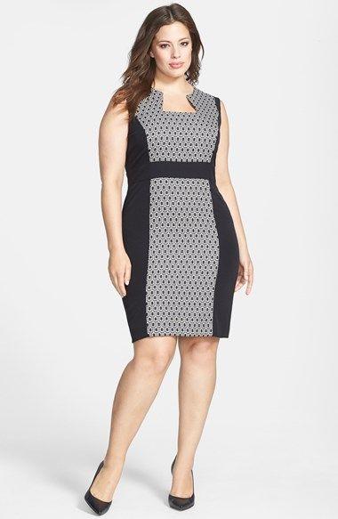 Tahari Print Panel Sheath Dress (Plus Size) | Nordstrom