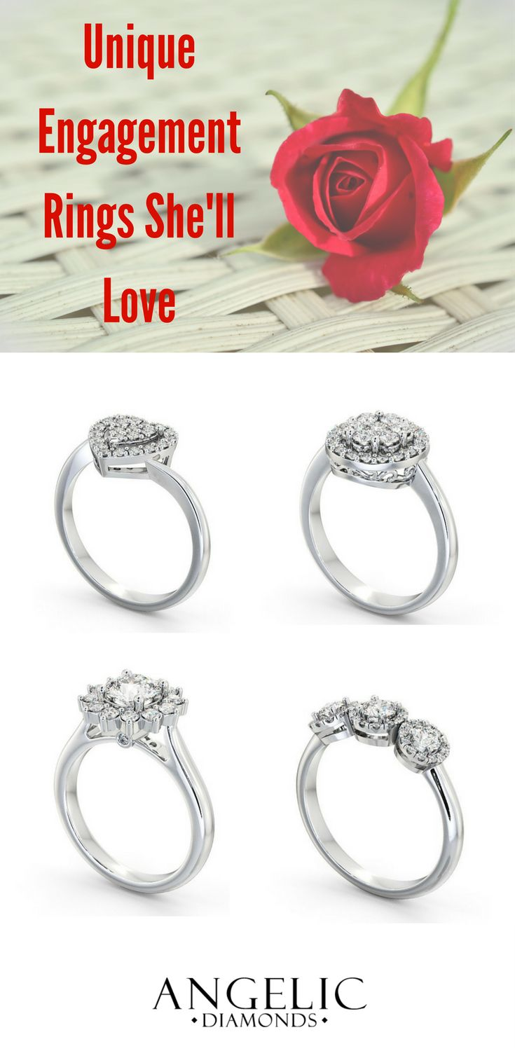 Guarantee she always stands out from the crowd with these beautiful and unusual engagement rings. Find her perfect diamond engagement ring and customise it with #AngelicDiamonds. #Engaged #Engagement #Wedding #IDo #Jewellery #Jewelry #Ring #EngagementRing #Diamond #Diamonds #Golf #WhiteGold #Gift #Present #Valentines #ValentinesDay #ValentinesDayGift #Proposal