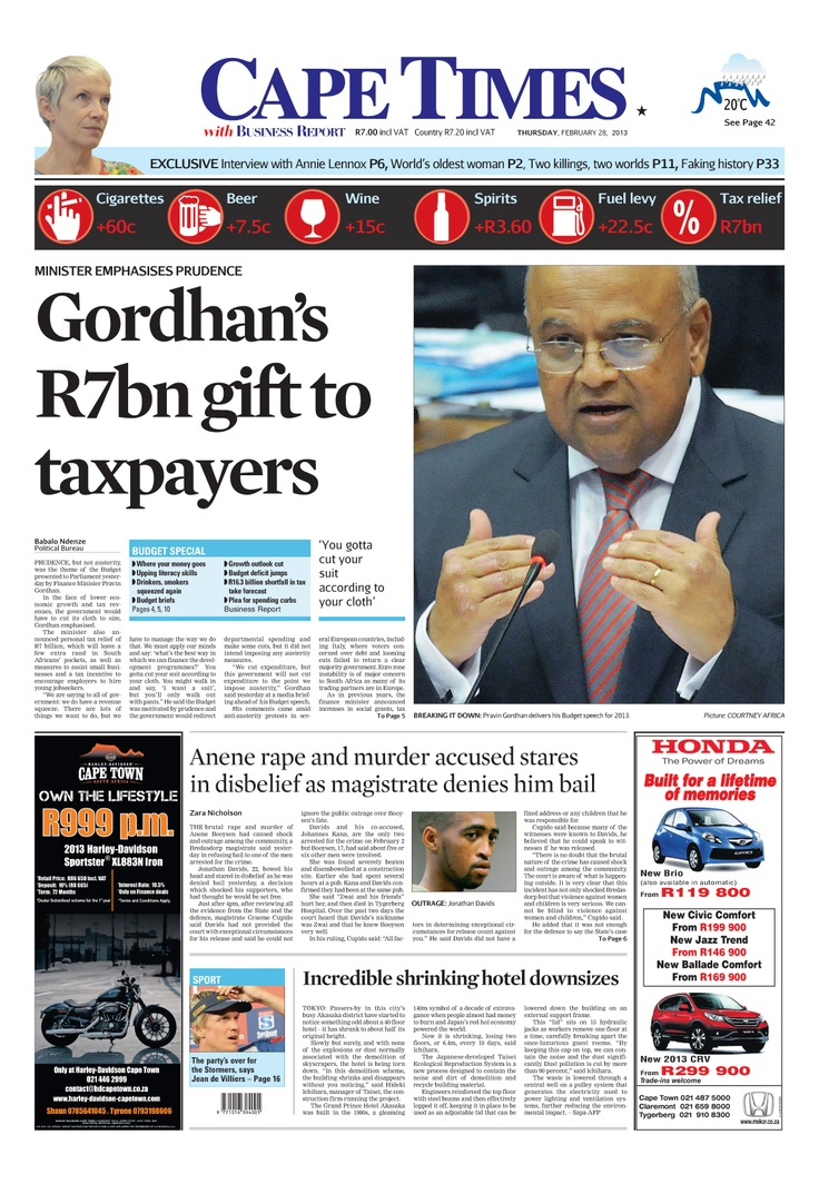 News making headlines:  Gordhan's R7bn gift to taxpayers