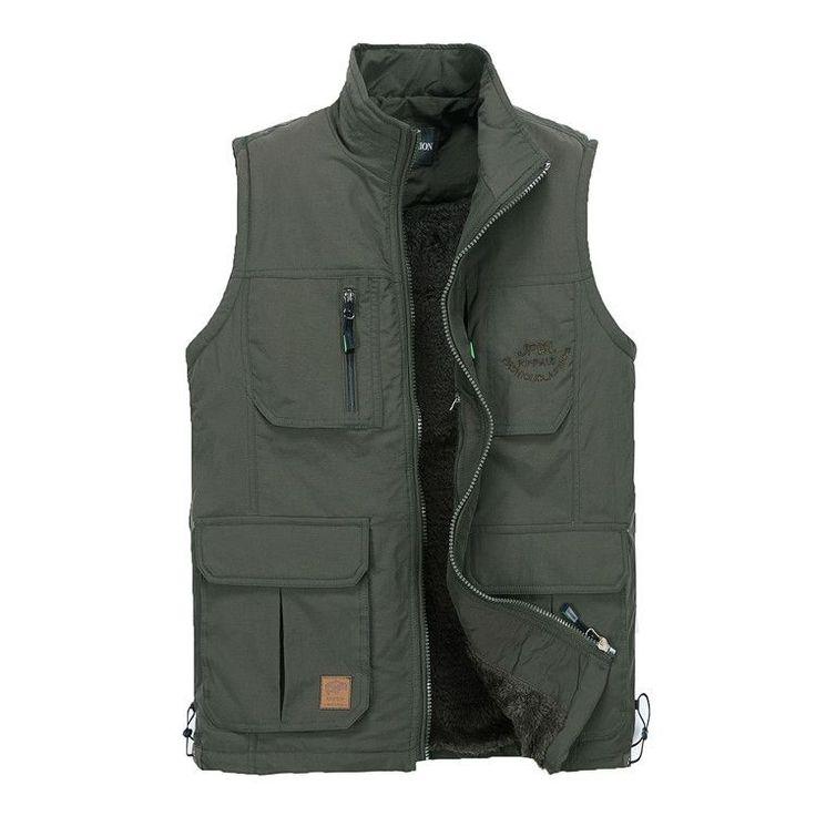Men Outdoor Vest Casual Multi Pockets Pure Color Photography Fishing Thicker #vestsmen