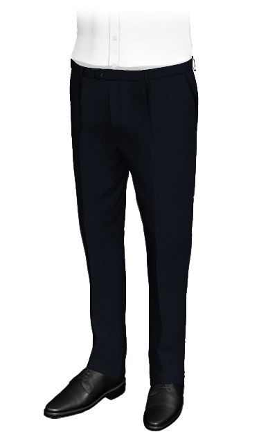 Fundamental Dark Blue - Plain dark blue pants made from 100% wool...  Custom pants with displaced fastening and pleats. They have vertical side pockets and piped back pockets with buttons. The fabric is very elegant and combines well with a blue or white shirt. A good choice for the office or formal occasions.  http://www.tailor4less.com/en/collections/custom-pants/basics-collection-pants/essential-dark-blue-pants