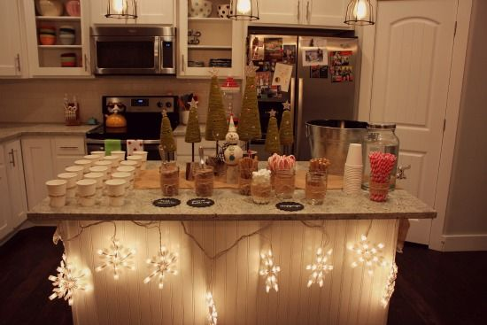 hot chocolate bar for drinks at winter gathering
