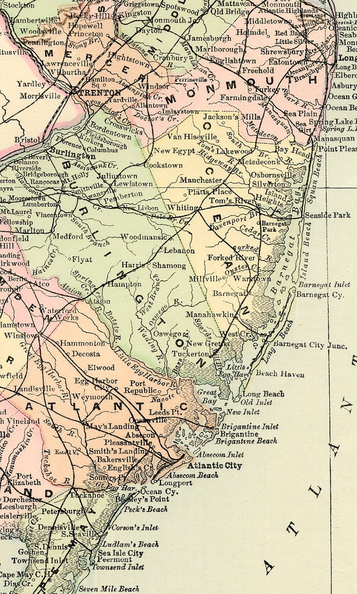 New Jersey Map - Antique Vintage Map - Original 1895 Map Of New Jersey - Newark - Toms River ...