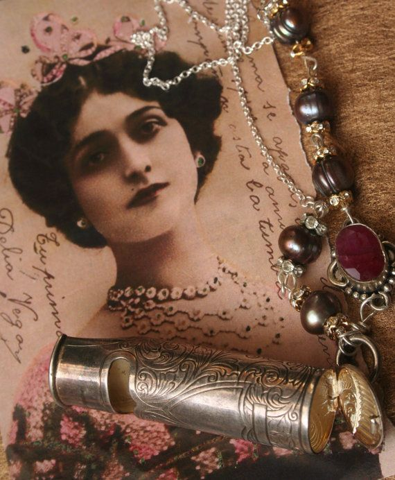 Christmas necklace Assemblage jewelry Assemblage by IRISHTREASURE