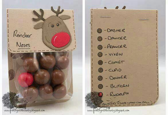 Reindeer noses for a Christmas treat (minus the red gun ball *gross* instead all brown ones and instead of Reindeer Noises how about Raindeer Poops ;)