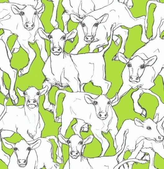 Iltavilli (14105) - Marimekko Wallpapers - This light hearted design is fun and quirky, and will certainly make a statement! The cows have a hand drawn effect which adds to their character. Shown on lime green. Available in two alternative colourways. Please order sample for true colour.