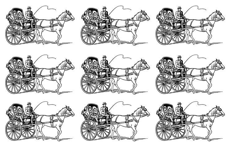 Galerie de coloriages gratuits coloriage-carrosse-adulte. Visuel en mosaïque très vintage d'un char tiré par cheval transportant un homme et une femme. A imprimer