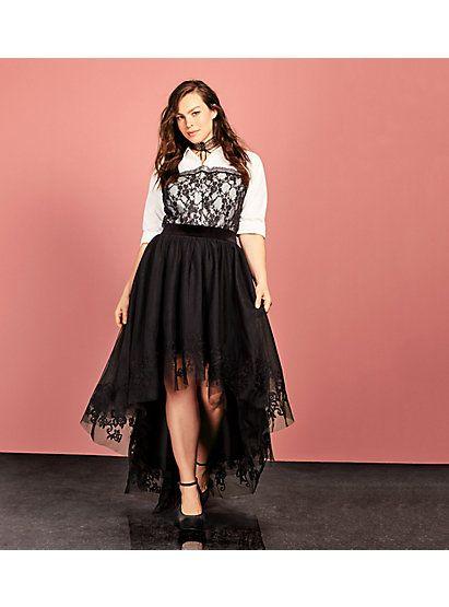 6d0771a754 Black   White Lace Bustier Button Up Top