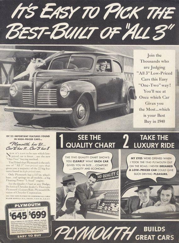 1940 plymouth car ad vintage advertising black  u0026 by advintagecom