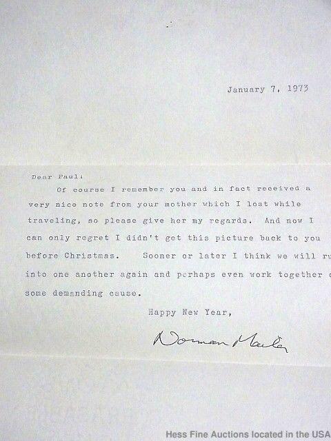 Norman Mailer Novelist Journalist Hand Typed Signed Letter 1973 Autograph