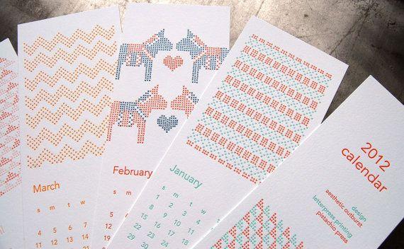 Cross Stitch Calendar, letterpress by pistachio press: Originales Calendario, Crosses Stitches Pattern, 2012 Crosses, Letterpresses Calendar, Stitches Calendar, Calendario Originals, Cross Stitches, Crosses Graphics, Pistachios Press
