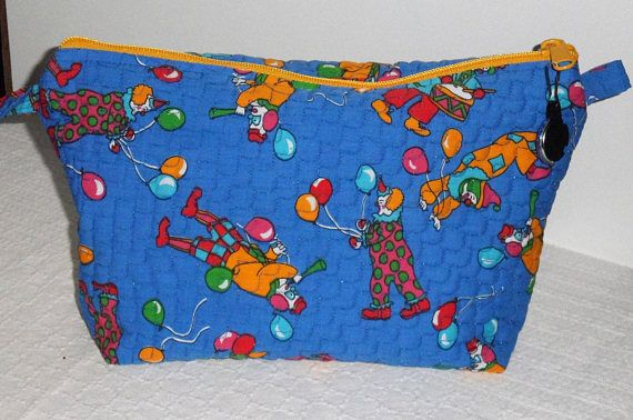Quilted Wedge Zippered Cosmetic Bag/Designer Amusing Clowns Fabric/ 100 Percent Cotton Wedge zippered Bag/Medium Sized Wedge Cosmetic Bag