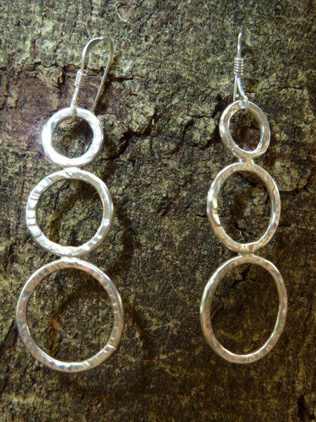 Triple hoop textured sterling silver earrings by StudioAg47, $35.00