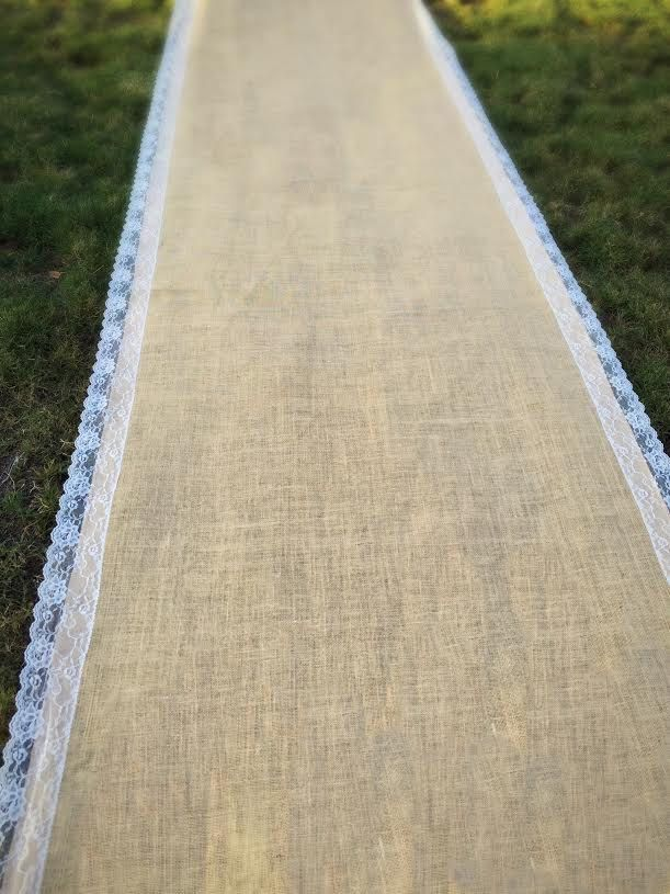 Wedding burlap aisle runner, burlap and lace asile runner, asile runner, SALE! Rustic, shabby chic, beach wedding, barn yard wedding by FantasyFabricDesigns on Etsy