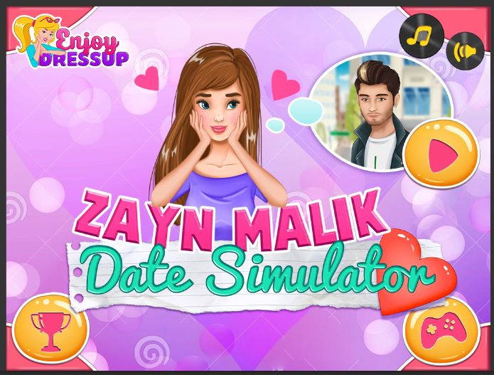 You won a date with Zayn Malik. You're the luckiest girl in the world! Now let's see how you will handle the date. Will you be flirty, shy or awkward? Test your skills in this new Enjoydressup game called Zayn Malik Date Simulator and see how your date ends. Will he walk away, kiss you or ask you for a second date? Have fun, girls!