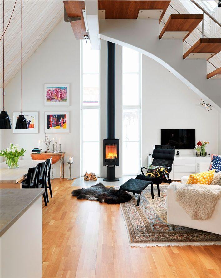 modern Scandinavian living room. grey. - http://ideasforho.me/modern-scandinavian-living-room-grey/ -  I love the wood stove!