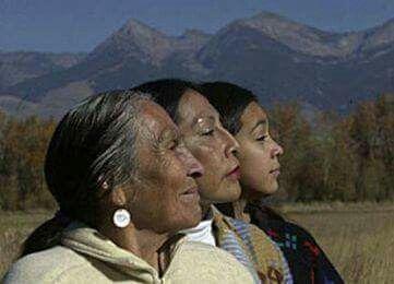 Three generations of native american women.