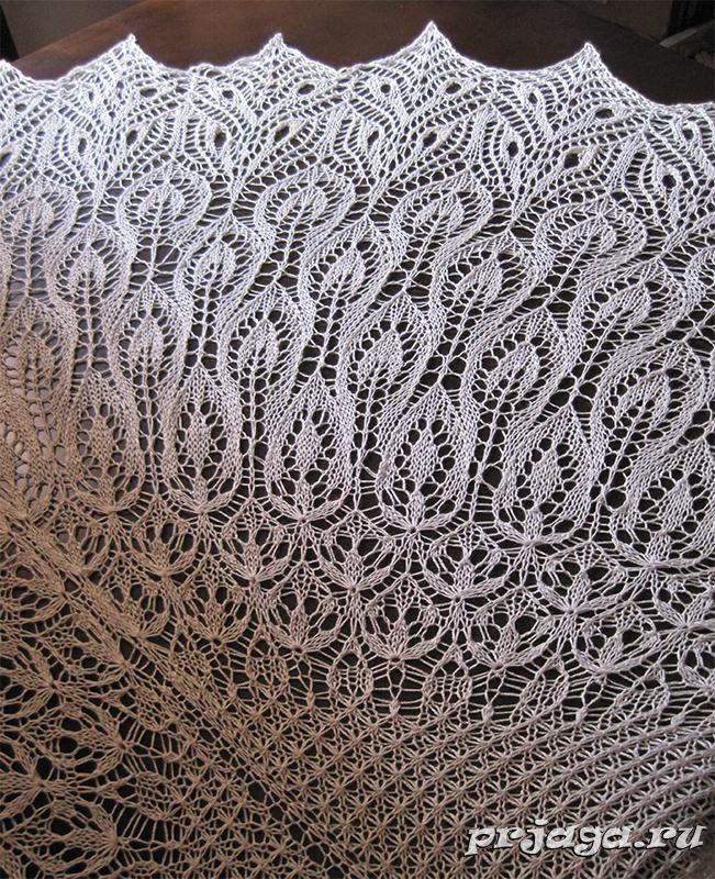 Шаль спицами, описание и схема вязания
