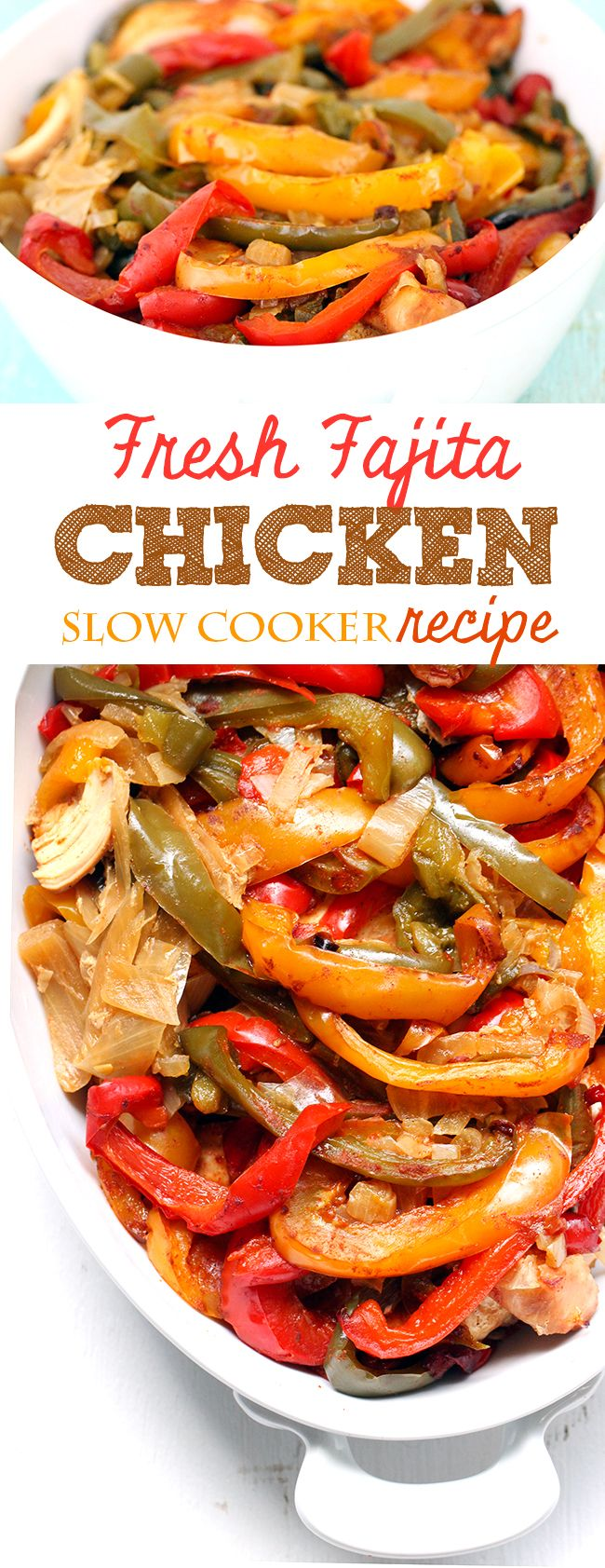 Make this fresh fajita chicken in the slow cooker. Comes together with a delicious combo of fresh ingredients. yums! #slowcooker